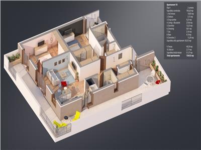 Drumul Taberei, Valea Oltului, Penthouse, 3 camere, terase 52 mp, bloc 2019