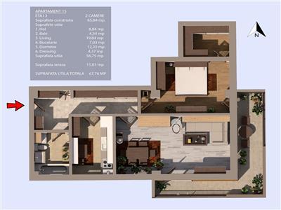 Valea Oltului, bloc 2020, oferta 2 camere, terasa de 11mp, et.1/3, zona case
