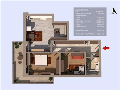 Valea Oltului, bloc 2020, 3 camere, terasa 11 mp, et.3, zona case