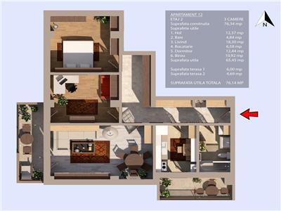 Valea Oltului, bloc 2020, 3 camere, 2 terase, et.2/3, zona case